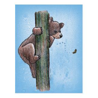 くまの登山の木の郵便はがき ポストカード