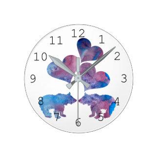くまの芸術 ラウンド壁時計