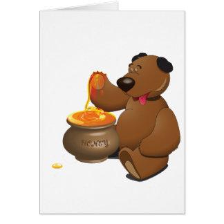 くまの食べ物の蜂蜜の挨拶状 カード