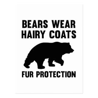 くまは毛深いコートの毛皮の保護を身に着けています ポストカード