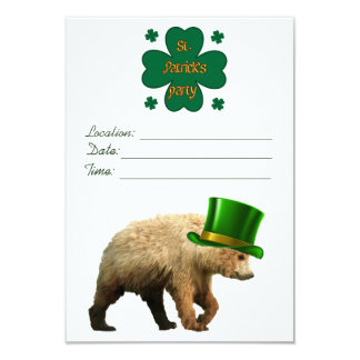 くまを持つセントパトリックの日のパーティの招待状 カード