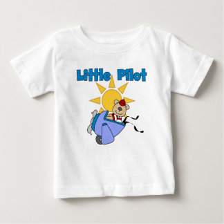くま少しパイロットのTシャツおよびギフト ベビーTシャツ