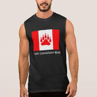 くま足を搭載する100%のカナダくまのカナダの旗 袖なしシャツ