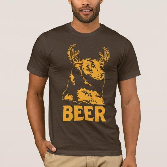 くま + シカ=ビール Tシャツ