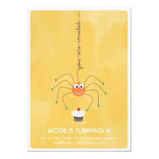 くもおよびカップケーキの誕生日のパーティの招待状 カード