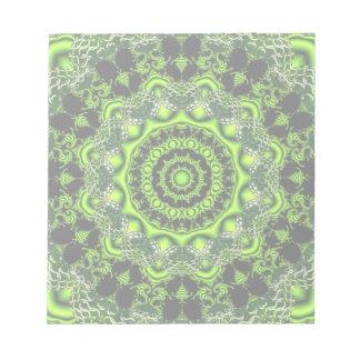 くものダンス、抽象的な緑の灰色のくもの巣 ノートパッド