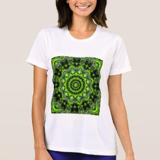 くものダンス、抽象的な緑の灰色のくもの巣 Tシャツ