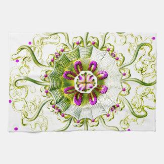 くらげの紫色の緑のエルンスト・ヘッケルの水玉模様 キッチンタオル