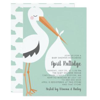 こうのとりのイラストレーションの-緑及び白いベビーシャワー カード