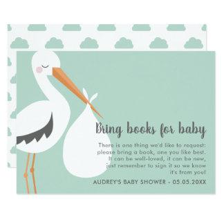 こうのとりのイラストレーション-ベビーシャワーの本の要求 カード