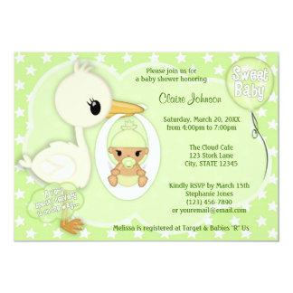 こうのとり配達ベビーシャワーの招待の緑3B カード