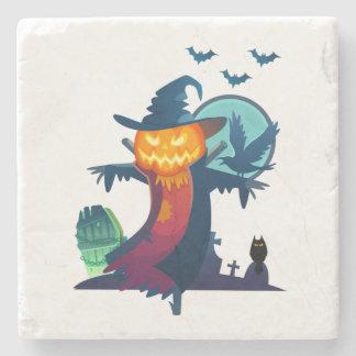 こうもりおよびカラスが付いているハロウィンの幽霊のよく出るなかかし ストーンコースター
