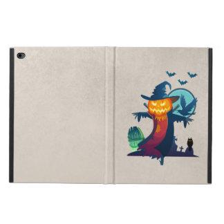 こうもりおよびカラスが付いているハロウィンの幽霊のよく出るなかかし POWIS iPad AIR 2 ケース