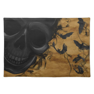 こうもりおよび煙によって囲まれる黒い微笑のスカル ランチョンマット