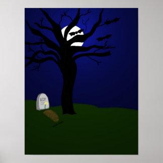 こうもりが付いているハロウィンの墓地 ポスター