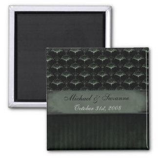 こうもりのダマスク織の磁石-暗いコケ マグネット