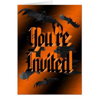 こうもりのハロウィンの招待状 カード