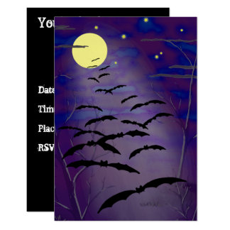 こうもりのハロウィンの魔法をかける時間の満月及び招待 8.9 X 12.7 インビテーションカード