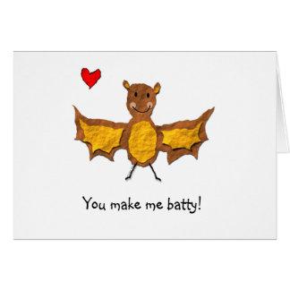 こうもりのバレンタインデーカード-動物のしゃれシリーズ カード