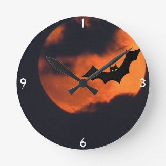 こうもりの柱時計が付いている満月 ラウンド壁時計