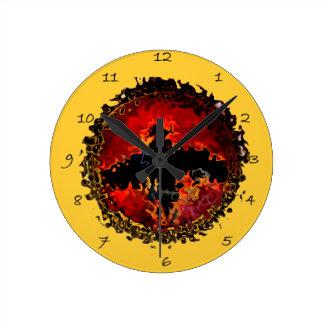 こうもりの芸術 ラウンド壁時計