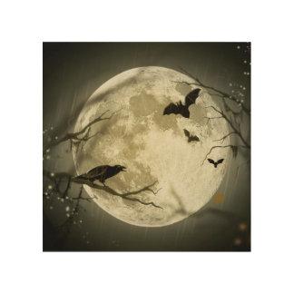 こうもりはハロウィンの満月の前にカラスを坐ります飛ばします ウッドウォールアート
