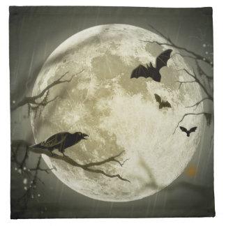 こうもりはハロウィンの満月の前にカラスを坐ります飛ばします ナプキンクロス