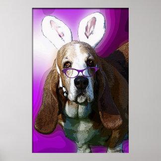 ここにイースターバセット犬ポスターを来ます ポスター
