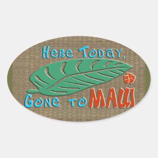 ここにマウイ-おもしろいなハワイアンに今日行って 楕円形シール