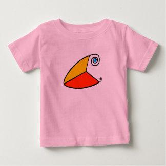 ここに禅のツノメドリの乳児のTシャツ ベビーTシャツ