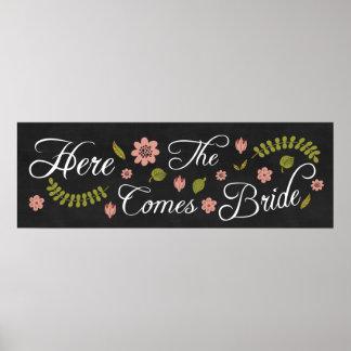 ここに花嫁の結婚式の黒板の印を来ます ポスター