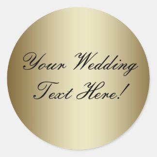 ここのあなたのデザイン! シールを結婚するカスタマイズ可能な金ゴールド ラウンドシール