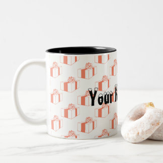 ここのギフトおよびあなたの名前 ツートーンマグカップ