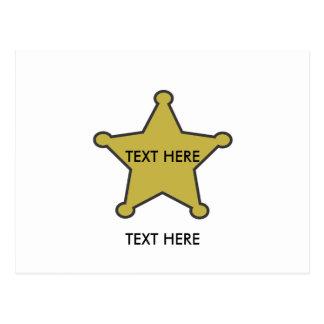 ここの保安官の星の文字 ポストカード