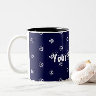 ここの雪片およびあなたの名前 ツートーンマグカップ