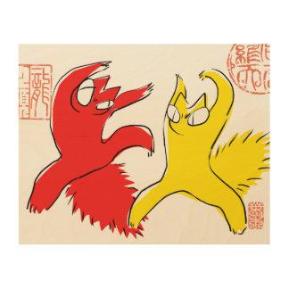 こっけいでおもしろいな口論猫のアジア人の絵 ウッドウォールアート