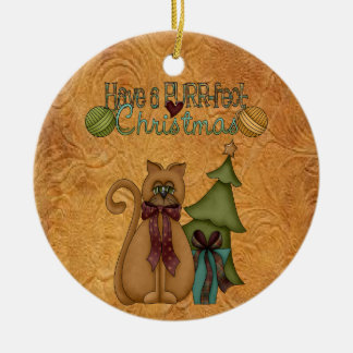 こっけいな猫ののどを鳴らす音fectのクリスマスツリーのオーナメント セラミックオーナメント