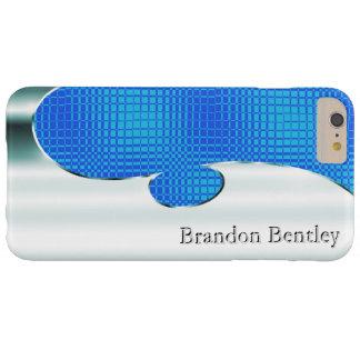 このぱりっとした模造のなクロムおよびプールの青をカスタマイズ BARELY THERE iPhone 6 PLUS ケース