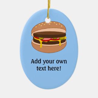 このハンバーガーのグラフィックをカスタマイズ セラミックオーナメント