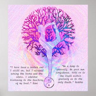 このポスター-ピンクのヨガの陰陽--をカスタマイズ ポスター
