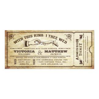 このリングを使って、チケットの招待状を結婚するヴィンテージ 10.2 X 23.5 インビテーションカード