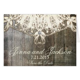 この国のレースおよび木製の素朴な結婚式の招待状 カード
