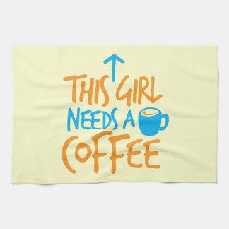 この女の子はコーヒーを必要とします! カフェインの燃料のデザイン キッチンタオル