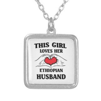 この女の子は彼女のエチオピアの夫を愛します シルバープレートネックレス