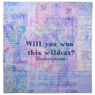 この山猫に懇願しますか。 シェークスピアの引用文 ナプキンクロス