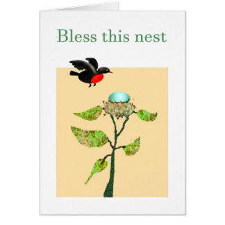 この巣、鳥、巣、卵および木を賛美して下さい カード