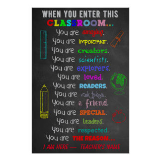 この教室の規則の先生のギフトに入る時 ポスター