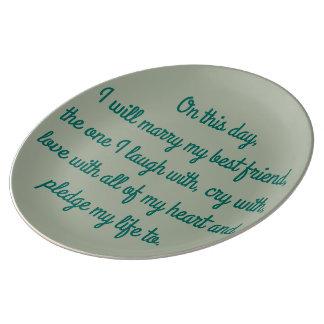 この日の結婚式のプレート 磁器製 皿