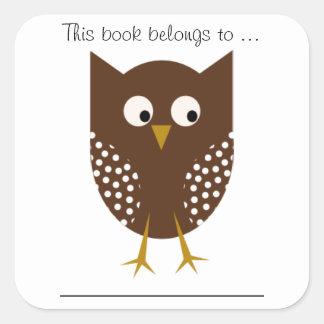 この本はに…属します(ブラウンのフクロウ、大きい) スクエアシール
