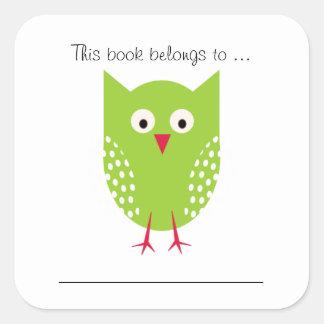 この本はに…属します(緑のフクロウ) スクエアシール